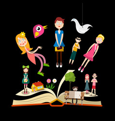 Book stories concept design with people on book vector