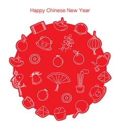 Chinese New Year Outline Icons Set In Circle Mono vector