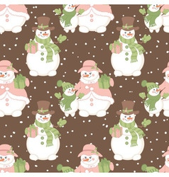 Christmas snowmen seamless pattern vector