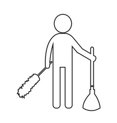 cleaner man and cleaning tool equipment design vector image