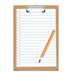 Clipboard with blank paper and pensil vector image