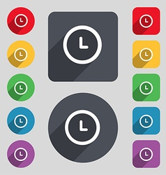 clock icon sign A set of 12 colored buttons and a vector image