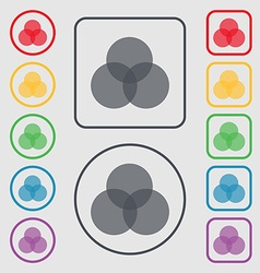 Color scheme icon sign Symbols on the Round and vector