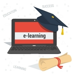 concept e-learning education vector image