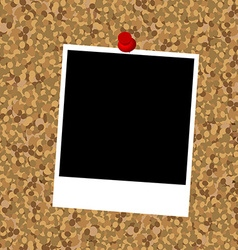 Cork board with instant photo frame and push pin vector