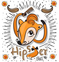 Cute cartoon fox with hipster hair fashion vector
