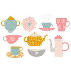 cute tea set tea party elements with teapot vector image