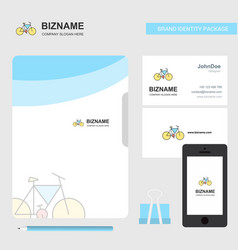 cycle business logo file cover visiting card and vector image