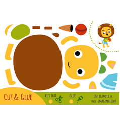 education paper game for children lion and a ball vector image