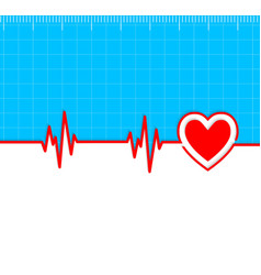 Electrocardiogram with heart silhouette vector