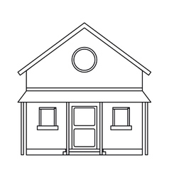 Familiy house countryside outline vector