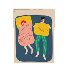 family couple sleeping together in double bed at vector image