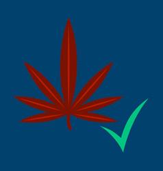 flat hand drawn color botanical of hemp cannabis vector image