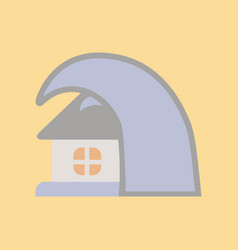 Flat icon on stylish background tsunami house vector