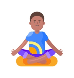 Flat style of afro american man doing yoga vector