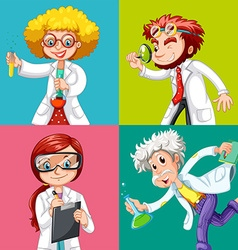 Four scientists doing experiments vector image