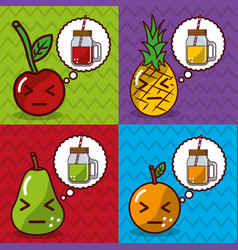 fruits and juices kawaii cartoon banners vector image