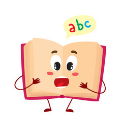 Funny open ABC book character with surprised face vector
