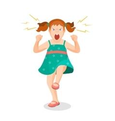 Girl full anger is shouting something vector