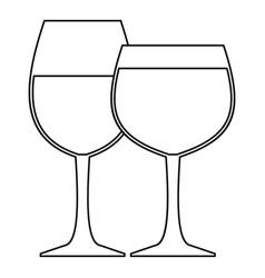 glasses of wine icon outline style vector image