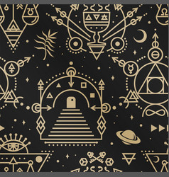 gold esoteric seamless pattern background vector image
