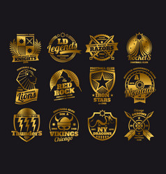 Gold school emblems college athletic teams sports vector