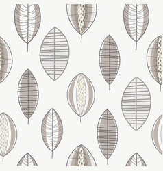 gray forest leaves seamless pattern design vector image