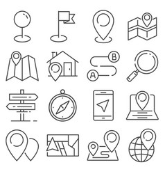 gray navigation and map line icons vector image
