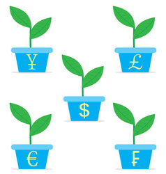 Growth income from start up set Sprout in a pot vector image