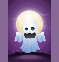 Halloween ghost in moonlight and graveyard vector
