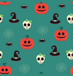 halloween seamless pattern with scull and pumpkin vector image