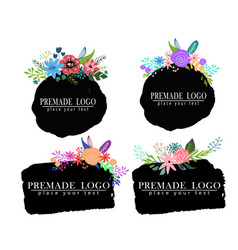 Hand drawn cute floral logo template vector
