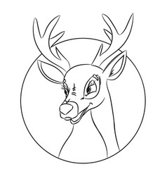 hand drawn deer head coloring page picture made vector image