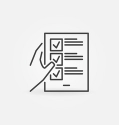 hand holding checklist outline concept icon vector image