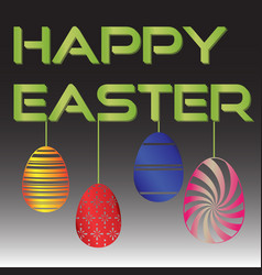 Happy easter with various color hanging eggs eps10 vector