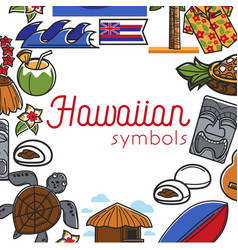 Hawaiian symbols food and culture travel to hawaii vector