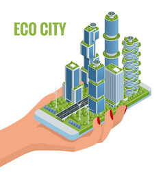 isometric flat eco-architecture green skyscraper vector image