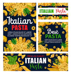 italian pasta macaroni spaghetti and green herbs vector image