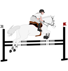 jumping show horse with jockey jumping a hurdle vector image
