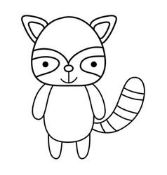 Line cute and happy raccoon wild animal vector