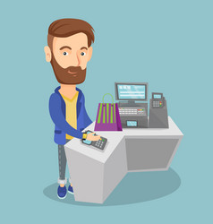 man paying wireless with smart watch vector image
