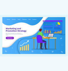 marketing and promotion strategy web page template vector image
