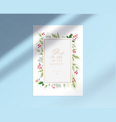 Merry christmas card with glory to god vector