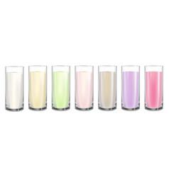 Milk cocktail glass set vector
