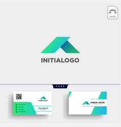 minimal a initial logo template and business card vector image