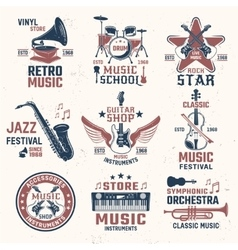 Music Retro Style Emblems vector
