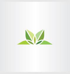 natural leaves logo yoga green symbol vector image