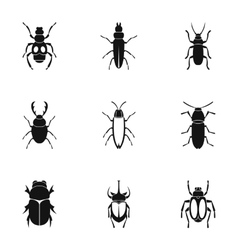 Order coleoptera icons set simple style vector