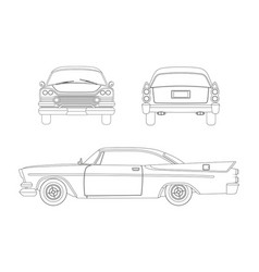 Outline drawing of retro car vintage cabriolet vector
