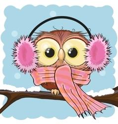 Owl in a fur headphones vector